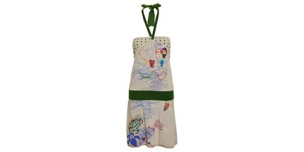 Dámské šedo-zelené šaty s nášivkami Dislay DY Design