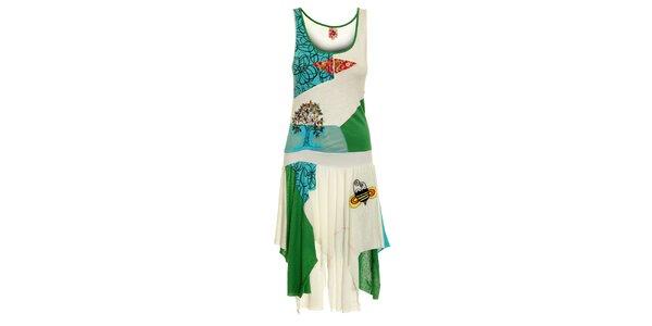 Dámské bílé šaty Dislay DY Design s barevnou výšivkou