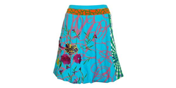 Dámská tyrkysová sukně Dislay DY design s barevným potiskem a výšivkou
