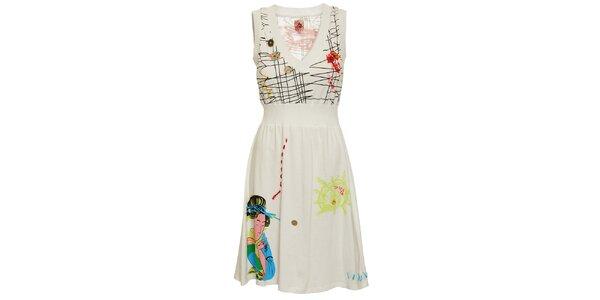 Dámské bílé šaty Dislay DY Design s potiskem