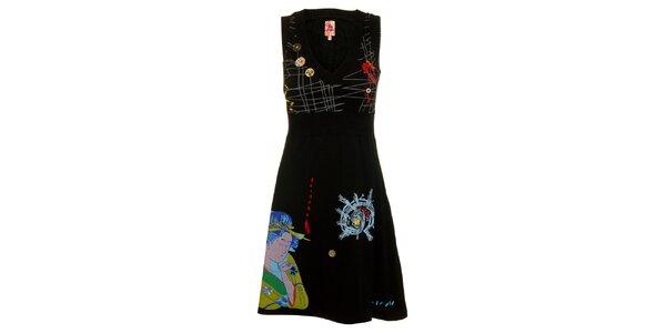 Dámské černé šaty Dislay DY Design s potiskem