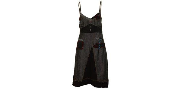 Dámské šedo-černé šaty s výraznými stehy Dislay DY Design