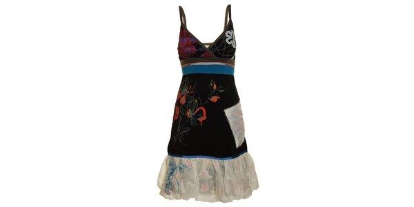Dámské černo-modré šaty s bílým lemem Dislay DY Design