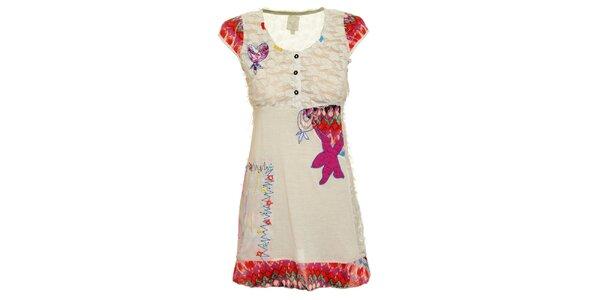 Dámské bílé šaty s veselými nášivkami Dislay DY Design