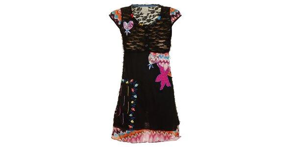 Dámské černé šaty s veselými nášivkami Dislay DY Design