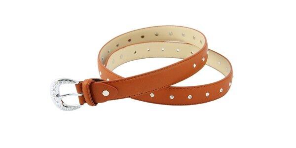 Dámský oříškově hnědý kožený pásek Matt&Desy s kamínky