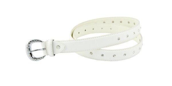 Dámský bílý kožený pásek Matt&Desy s kamínky