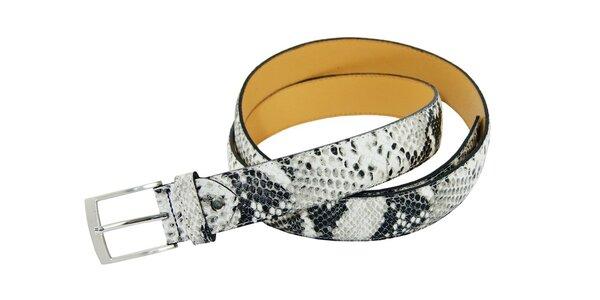 Dámský černo-bílý kožený pásek Matt&Desy s hadím vzorem