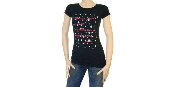 Dámské černé tričko Matt&Desy s červeným textem a puntíky