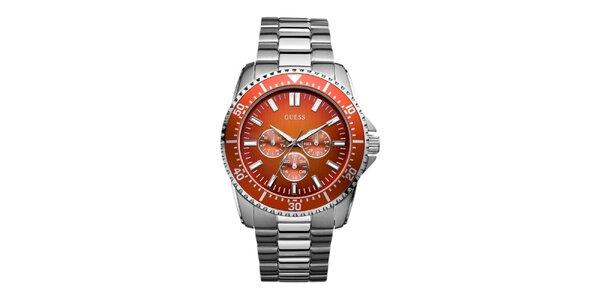 Pánské stříbrné hodinky s oranžovým ciferníkem Guess