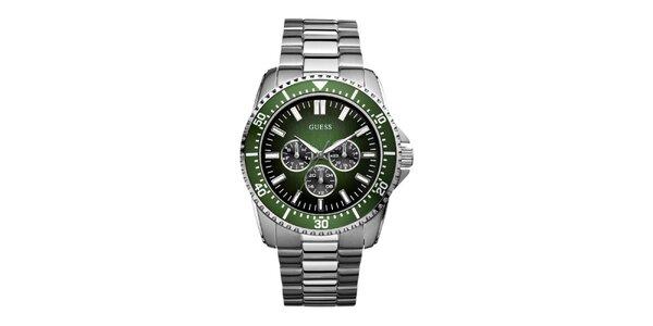 Pánské stříbrné hodinky se zeleným ciferníkem Guess