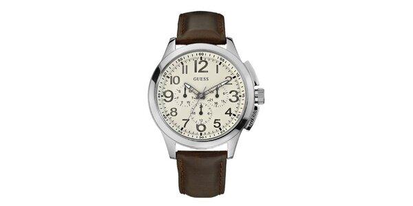 Pánské hnědo-stříbrné analogové hodiny Guess