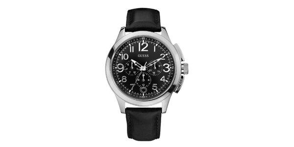 Pánské černo-stříbrné analogové hodiny Guess