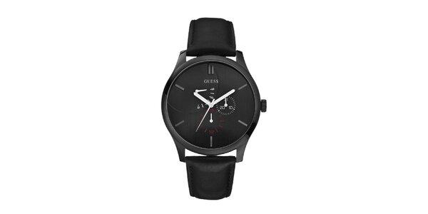 Pánské černé analogové hodinky s červenými detaily Guess