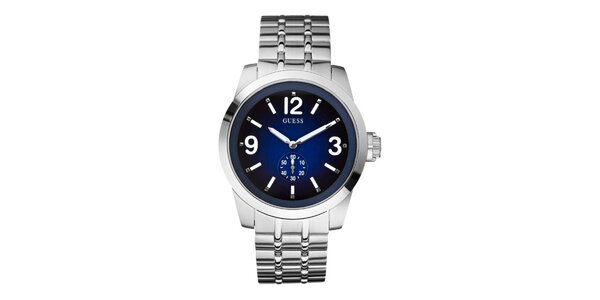 Pánské ocelové hodinky s modrým ciferníkem Guess