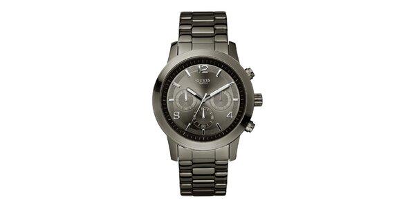Pánské ocelově šedé analogové hodinky Guess
