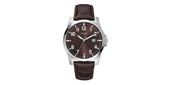Pánské tmavě hnědé analogové hodinky Guess