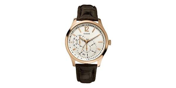 Pánské hnědé hodinky s pozlacenými detaily Guess