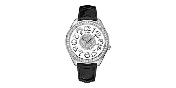 Dámské analogové hodinky s černým páskem a Swarovski křišťaly Guess
