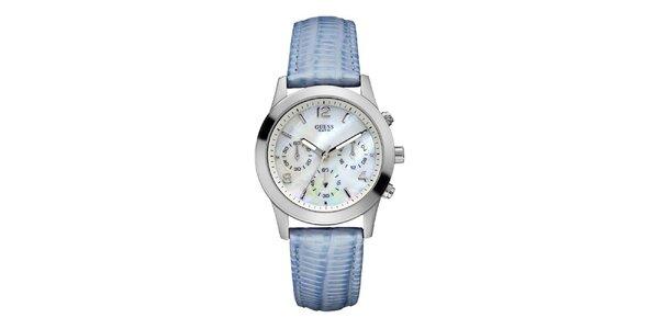 Dámské analogové hodinky s modrým páskem Guess