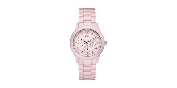 Dámské světle růžové analogové hodinky Guess