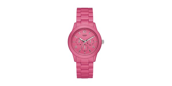 Dámské růžové analogové hodinky Guess