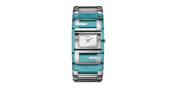 Dámské tyrkysové náramkové hodinky Guess