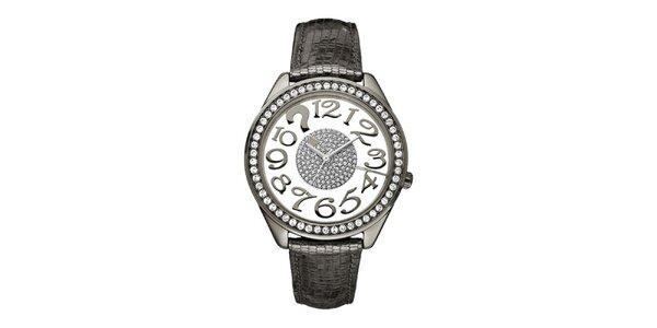 Dámské metalické hodinky s krystaly Guess