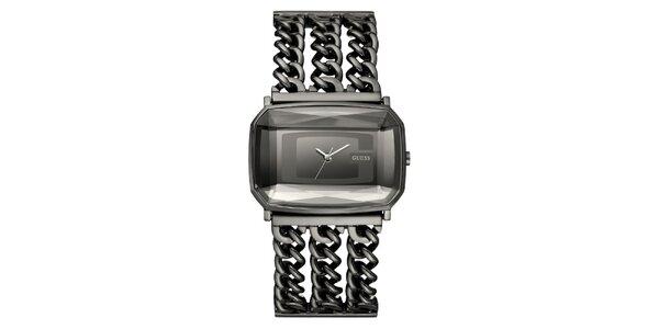 Dámské šedé řetízkové hodinky Guess