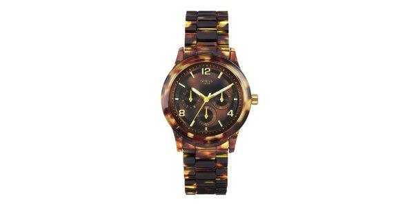 Dámské jantarově žíhané hodinky se zlatými detaily Guess