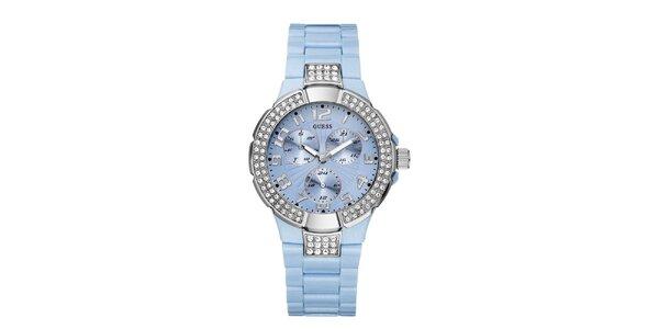 Dámské světle modré hodinky s krystalky Guess
