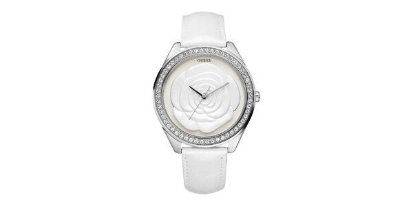 Dámské bílé analogové hodinky s růží Guess