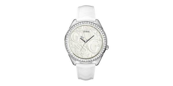 Dámské bílé analogové hodinky s krystaly Guess