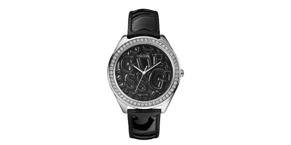 Dámské černé analogové hodinky s krystaly Guess