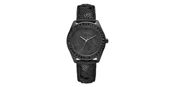 Dámské černé hodinky s krastaly a flitrovým páskem Guess