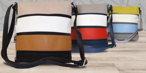 Crossbody kabelky z ekokůže s barevnými pruhy