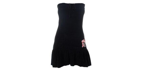 Dámské černé šaty s volánem Pussy Deluxe