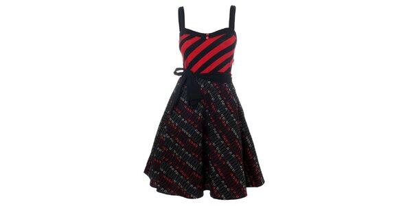 Dámské červeno-černé punkové šaty se špendlíky Pussy Deluxe