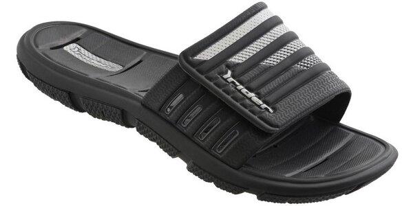 Pánské černé plážové pantofle Rider se stříbrným potiskem