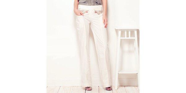 Dámské krémové kalhoty Angels Never Die s výšivkou