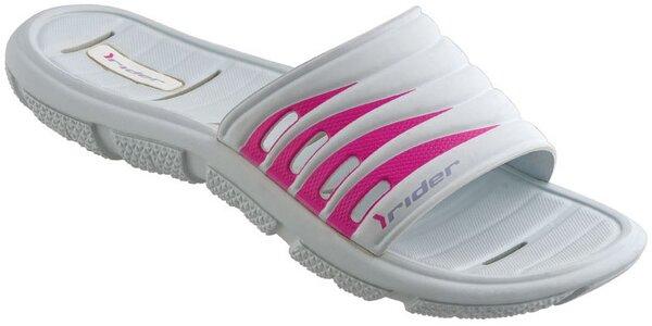Dámské bílo-růžové plážové pantofle Rider