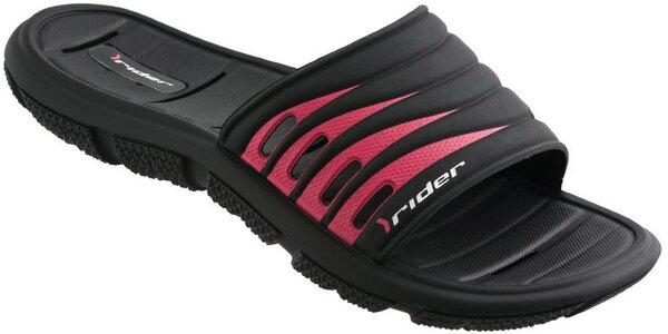 Dámské černo-růžové plážové pantofle Rider