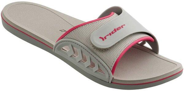 Dámské šedo-růžové plážové pantofle Rider