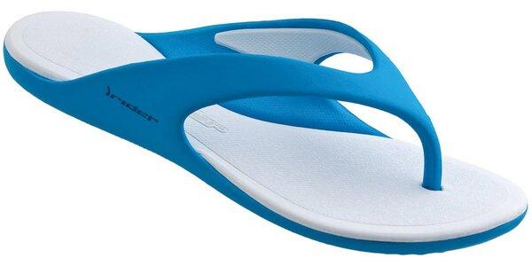 Dámské modro-bílé žabky Rider