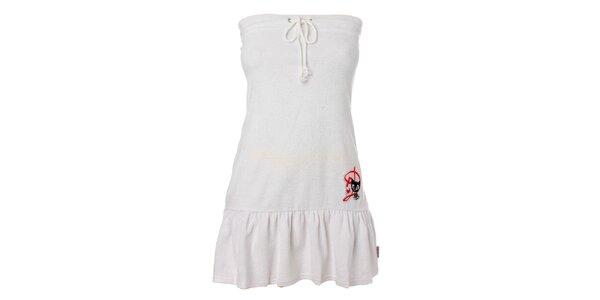 Dámské bílé šaty s volánem Pussy Deluxe