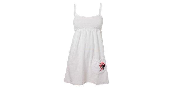 Dámské bílé šaty Pussy Deluxe se špagetovými ramínky a kapsou