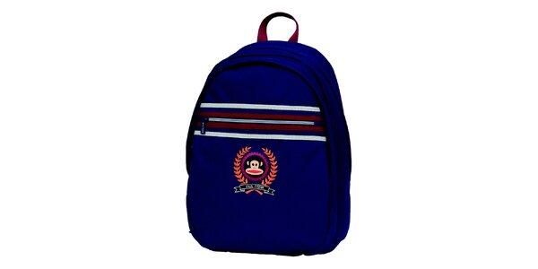 Modrý batoh s proužky a opičkou Paul Frank