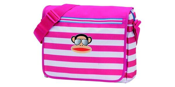 Růžovo-bílá pruhovaná taška Paul Frank