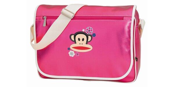 Kovově růžová taška s opicí Paul Frank
