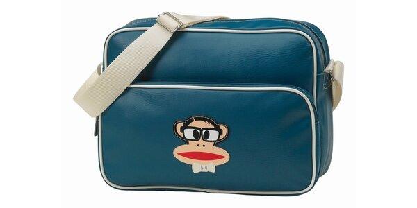 Ocelově modrá taška na notebook s opičkou Paul Frank